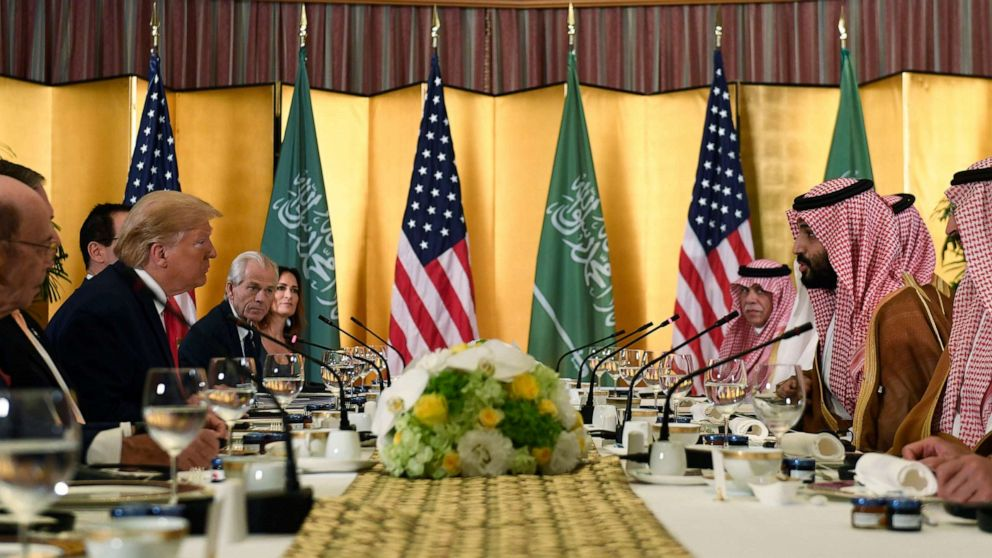 PHOTO: President Donald Trump meets with Saudi Arabia Crown Prince Mohammed bin Salman during a working breakfast on the sidelines of the G-20 summit in Osaka, Japan, June 29, 2019.