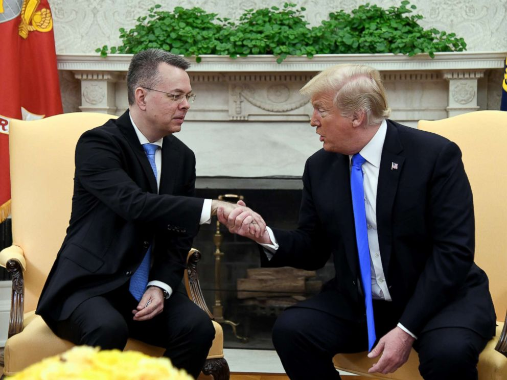 PHOTO: President Donald Trump meets with Pastor Andrew Brunson in the Oval Office of the White House on Oct. 13, 2018 in Washington.