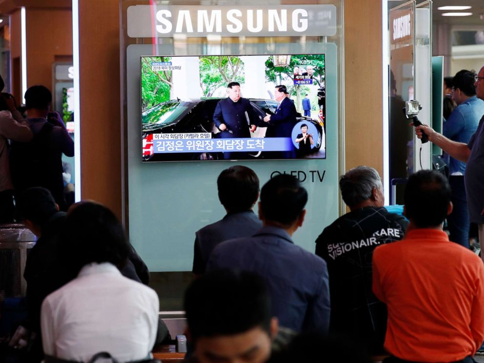 PHOTO: South Koreans watch a TV screen displaying a broadcast of the historic meeting between President Donald J. Trump and North Korean leader Kim Jong-un in Singapore, at a station in Seoul, South Korea, June 12, 2018.