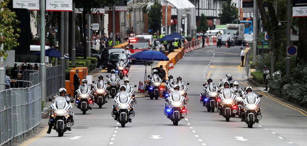 PHOTO: The motorcade of North Korean leader Kim Jong Un travels towards Sentosa for his meeting with President Donald Trump, in Singapore on June 12, 2018.