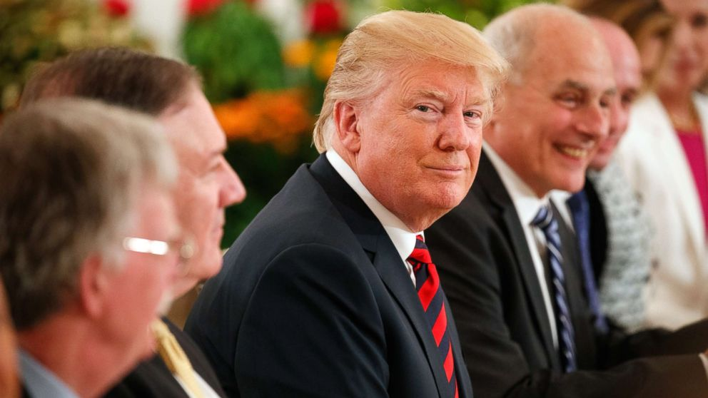 President Donald Trump listens during a meeting with Singapore Prime Minister Lee Hsien Loong ahead of a summit with North Korean leader Kim Jong Un, June 11, 2018, in Singapore.