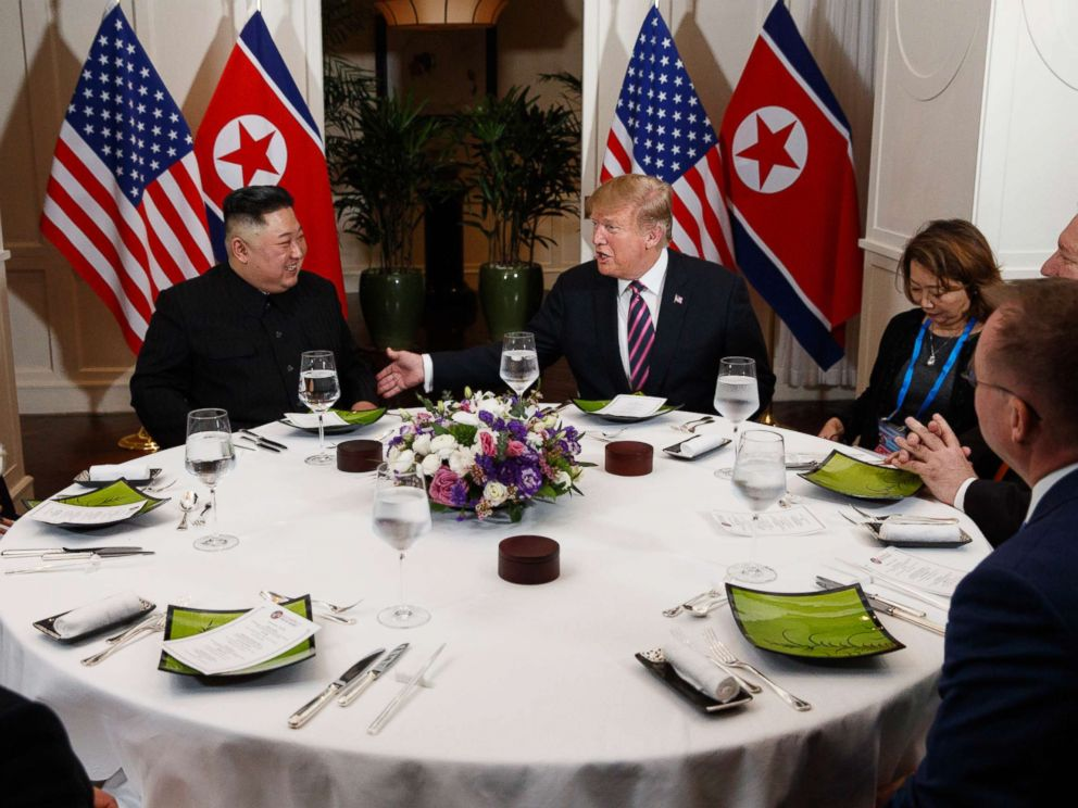 PHOTO: President Donald Trump speaks during a dinner with North Korean leader Kim Jong Un, Feb. 27, 2019, in Hanoi.