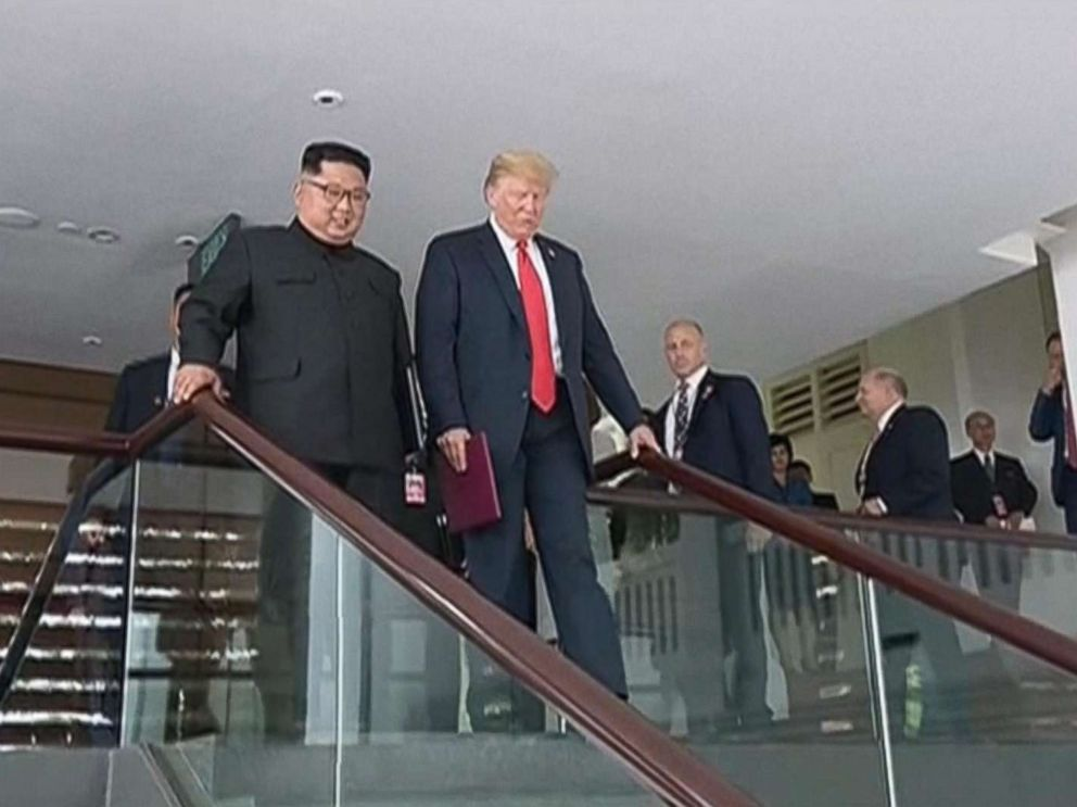 PHOTO: President Donald Trump and Kim Jong Un are pictured at their summit in Singapore in video shown on North Korean state television.
