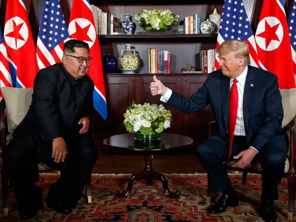 PHOTO: President Donald Trump meets with North Korean leader Kim Jong Un on Sentosa Island, June 12, 2018, in Singapore.