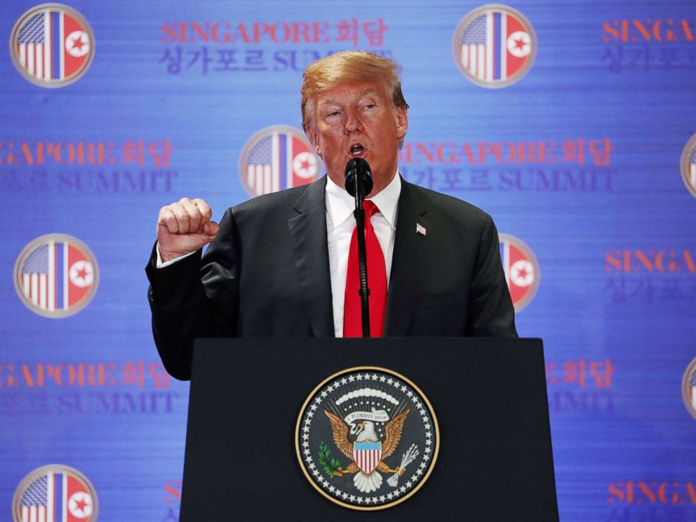 PHOTO: President Donald Trump speaks during a news conference after his meeting with North Korean leader Kim Jong Un at the Capella Hotel on Sentosa island in Singapore, June 12, 2018.