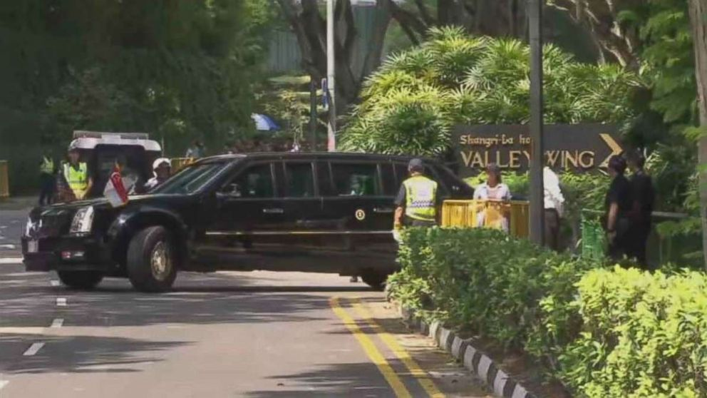 President Donald Trump's motorcade leaves the Shangri-La Hotel in Singapore ahead of a scheduled meeting with Singaporean Prime Minister Lee Hsien Loong on Monday, June 11, 2018.