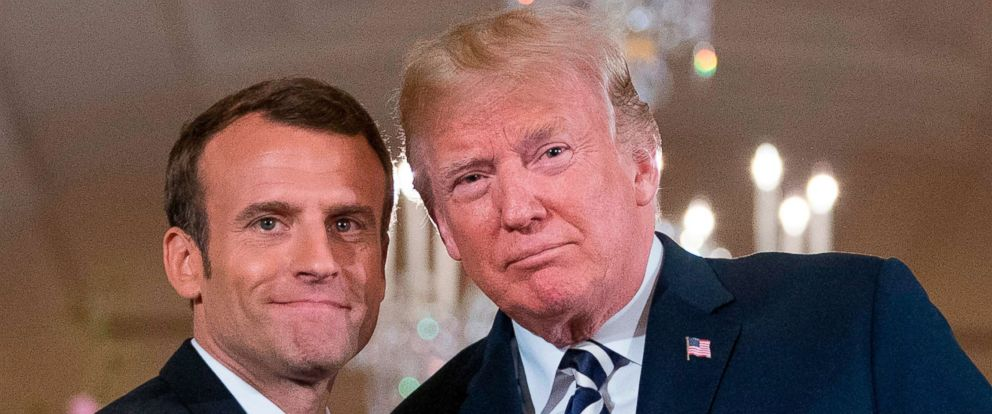 PHOTO: President Donald Trump and French President Emmanuel Macron embrace at the conclusion of a news conference in the East Room of the White House in Washington, April 24, 2018.
