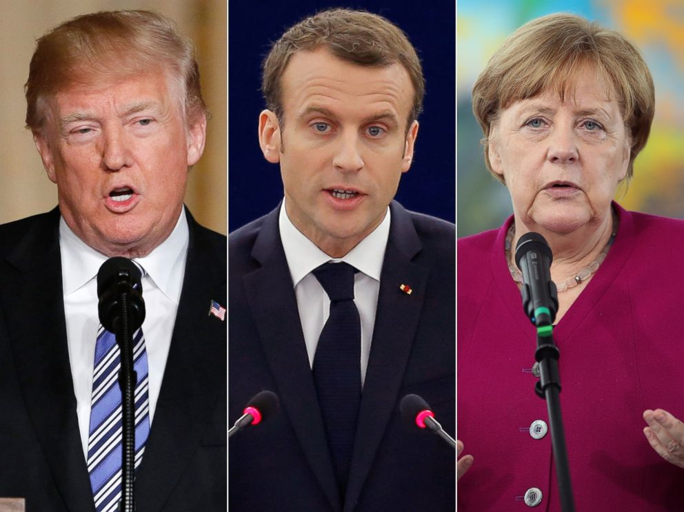 PHOTO: Pictured (L-R) are President Donald Trump in Palm Beach, Fla., April 18, 2018, French President Emmanuel Macron in Strasbourg, France, April 17, 2018 and German Chancellor Angela Merkel in Berlin, April 23, 2018.