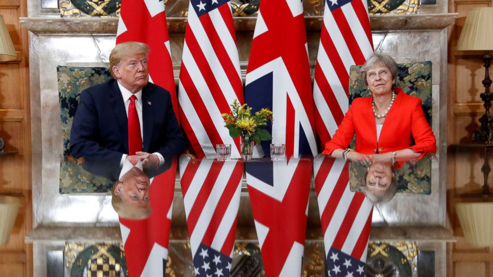 President Donald Trump and British Prime Minister Theresa May meet at Chequers in Buckinghamshire, Britain, July 13, 2018.