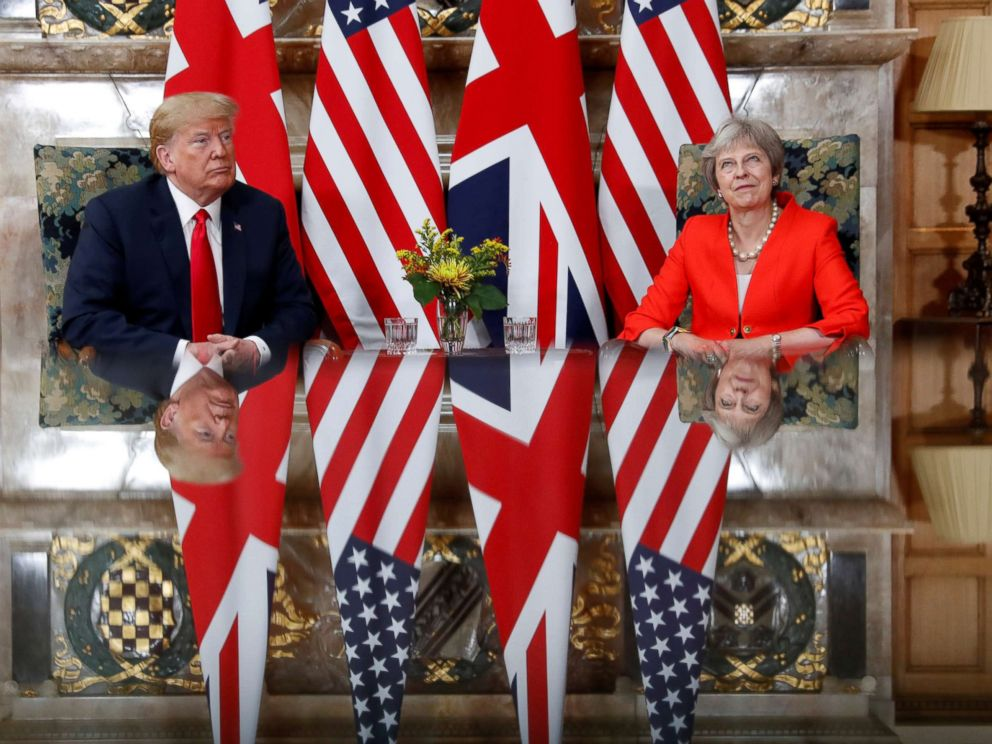PHOTO: President Donald Trump and British Prime Minister Theresa May meet at Chequers in Buckinghamshire, Britain, July 13, 2018.