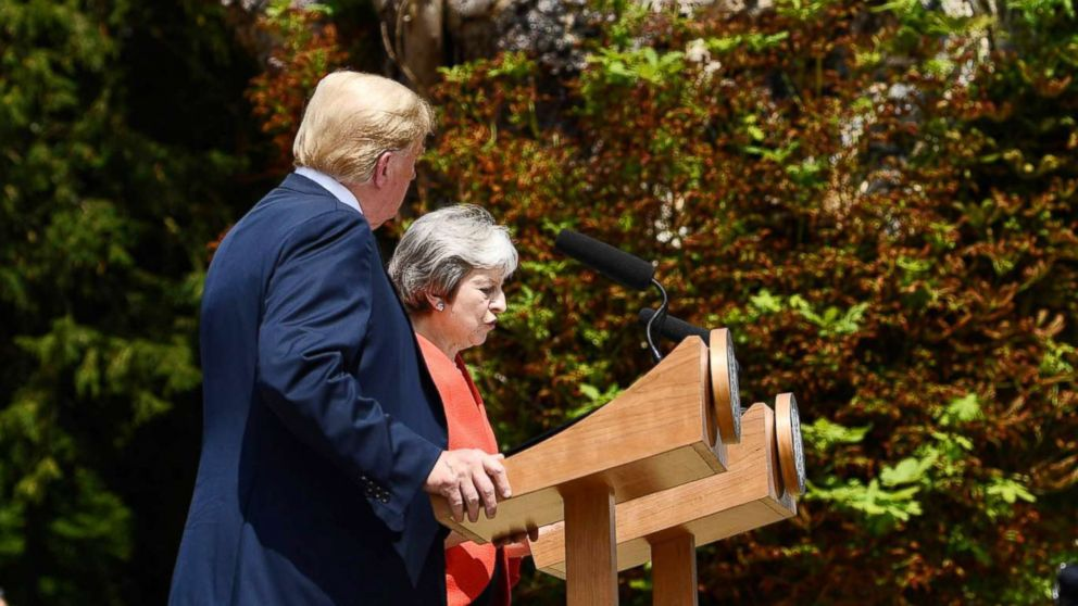 President Donald Trump and Britain's Prime Minister Theresa May attend a press conference following their meeting at Chequers, the prime minister's country residence, near Ellesborough, northwest of London, July 13, 2018, on the second day of Trump's UK visit.