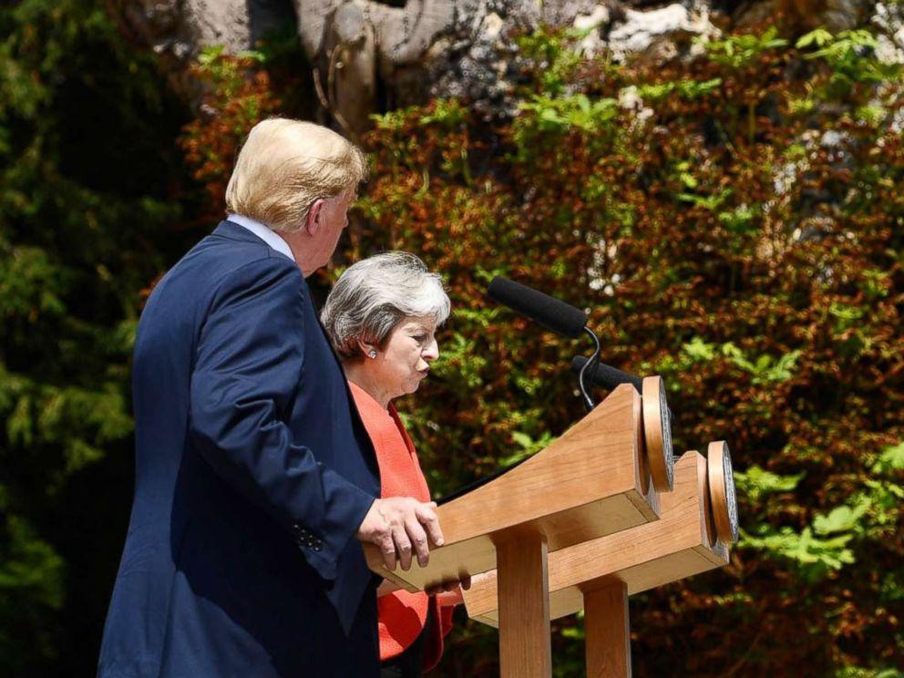 PHOTO: President Donald Trump and Britains Prime Minister Theresa May attend a press conference following their meeting at Chequers, the prime ministers country residence, near Ellesborough, northwest of London, July 13, 2018.