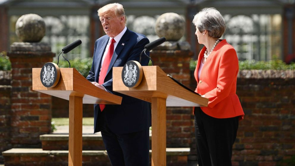President Donald Trump and Britain's Prime Minister Theresa May hold a joint press conference following their meeting at Chequers, the prime minister's country residence, near Ellesborough, northwest of London, July 13, 2018, on the second day of Trump's UK visit.