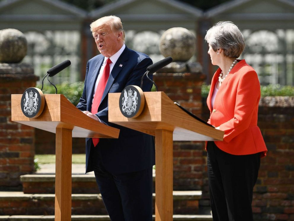 PHOTO: President Donald Trump and Britains Prime Minister Theresa May hold a joint press conference following their meeting at Chequers, the prime ministers country residence, near Ellesborough, northwest of London, July 13, 2018.