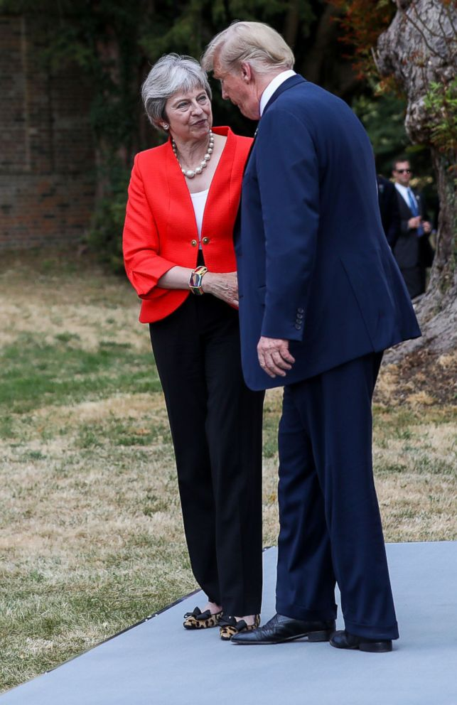 PHOTO: British Prime Minister Theresa May and President Donald J. Trump leave their joint news conference after their bilateral meeting at Chequers in Aylesbury, Britain, July 13, 2018.