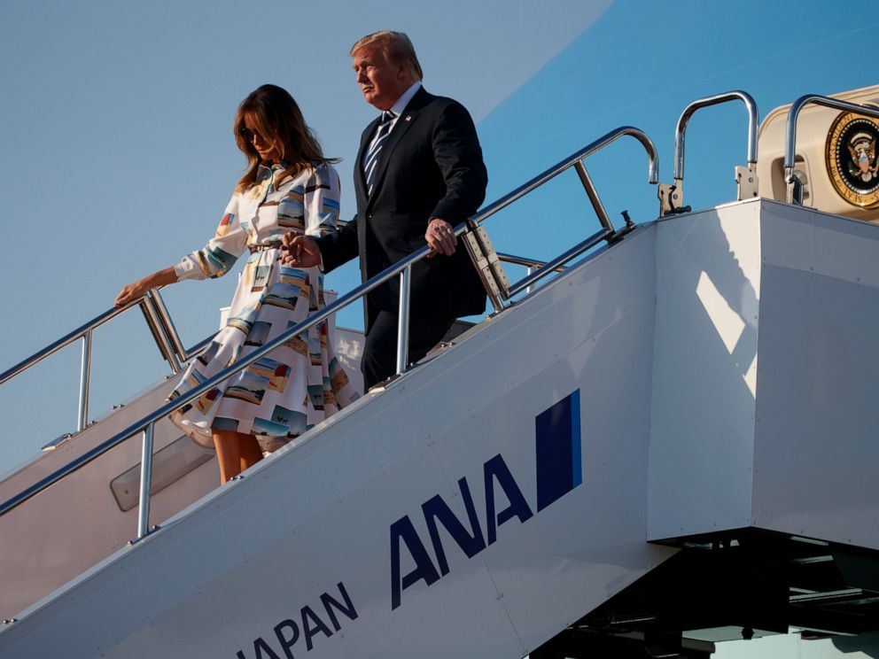 PHOTO: President Donald Trump and fist lady Melania Trump arrive at Haneda International Airport for a state visit, Saturday, May 25, 2019, in Tokyo.