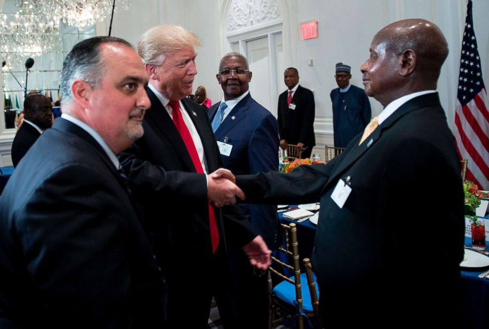 PHOTO: President Donald Trump shakes hands with Ugandas President Yowri Kaguta Museveni before a luncheon with U.S. and African leaders at the Palace Hotel during the 72nd United Nations General Assembly on Sept. 20, 2017, in New York City.
