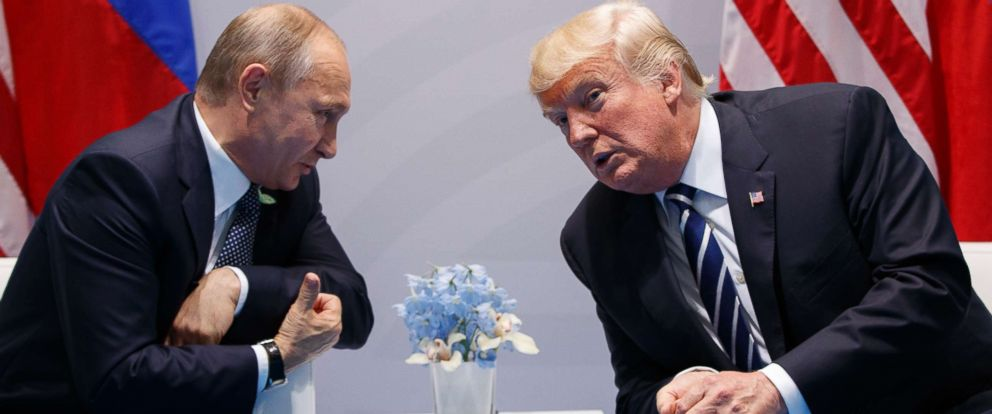 PHOTO: President Donald Trump speaks with Russian President Vladimir Putin during a meeting at the G20 Summit, July 7, 2017, in Hamburg, Germany.