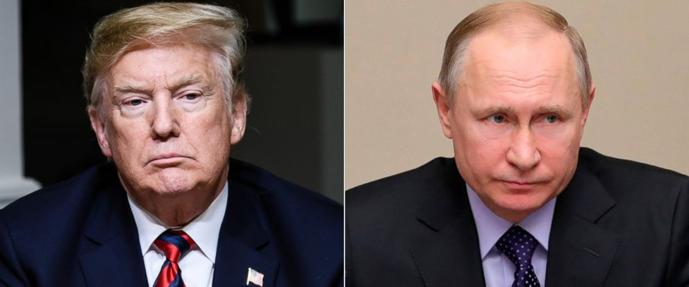 PHOTO: Pictured (L-R) are President Donald Trump in Charlevoix, Canada, June 8, 2018 and Russian President Vladimir Putin in Moscow, April 19, 2018.