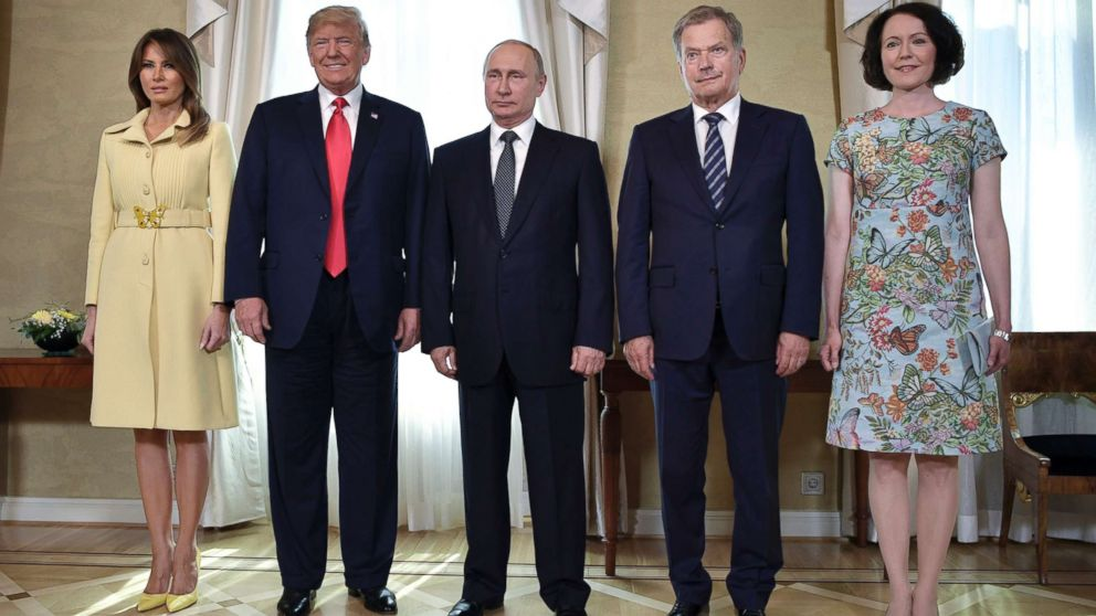 First lady Melania Trump, President Donald Trump, Russian President Vladimir Putin, Finnish President Sauli Niinisto and his wife Jenni Haukio from left, pose for a photograph at the Presidential Palace in Helsinki, Finland, July 16, 2018 prior to Trump's and Putin's one-on-one meeting in the Finnish capital.