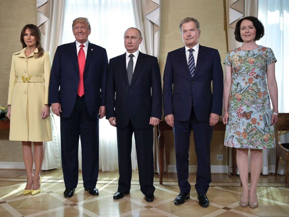 PHOTO:First lady Melania Trump, President Donald Trump, Russian President Vladimir Putin, Finnish President Sauli Niinisto and his wife Jenni Haukio at the Presidential Palace in Helsinki, Finland, July 16, 2018 in the Finnish capital.