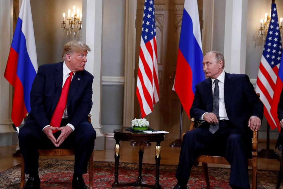 PHOTO: President Donald Trump meets with Russias President Vladimir Putin in Helsinki, Finland, July 16, 2018.
