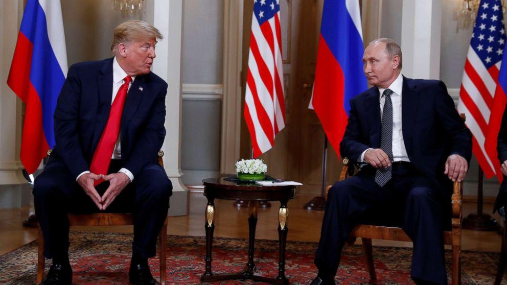 President Donald Trump meets with Russia's President Vladimir Putin in Helsinki, Finland, July 16, 2018.