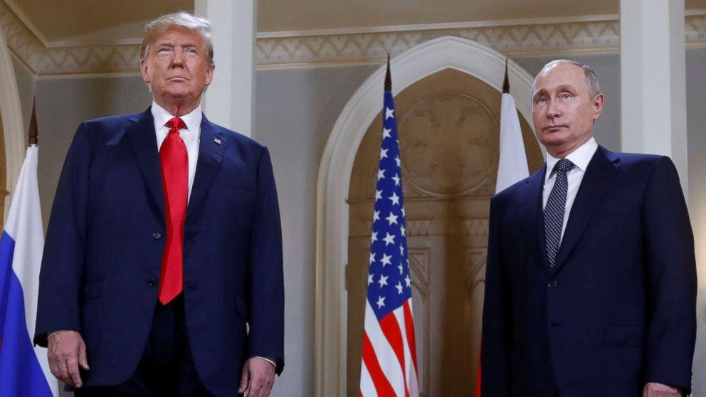 President Donald Trump and Russia's President Vladimir Putin meet in Helsinki, Finland, July 16, 2018.