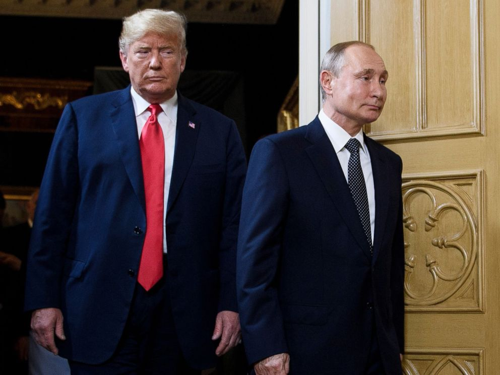 PHOTO: President Donald Trump and Russian President Vladimir Putin arrive for a meeting in Helsinki, July 16, 2018.