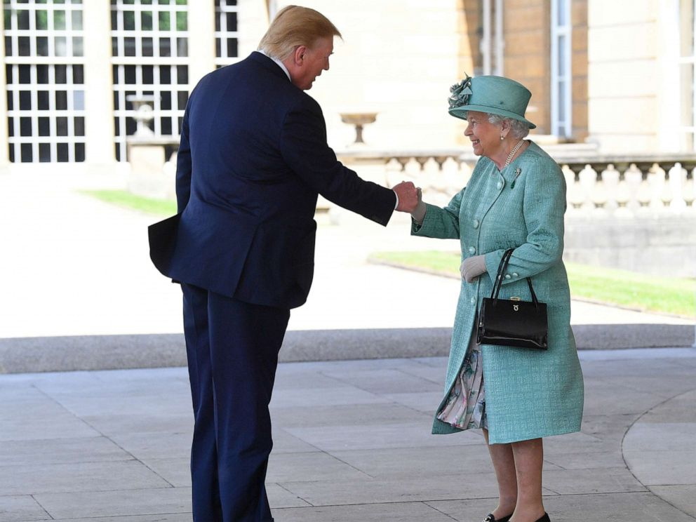 PHOTO: Britains Queen Elizabeth II greets President Donald Trump as he arrives for the Ceremonial Welcome at Buckingham Palace, in London, June 3, 2019.