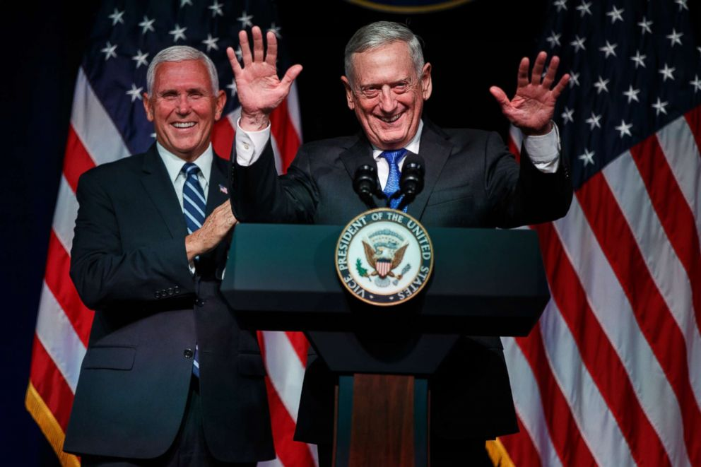 PHOTO: Secretary of Defense Jim Mattis introduces Vice President Mike Pence during an event on the creation of a United States Space Force, Aug. 9, 2018, at the Pentagon.