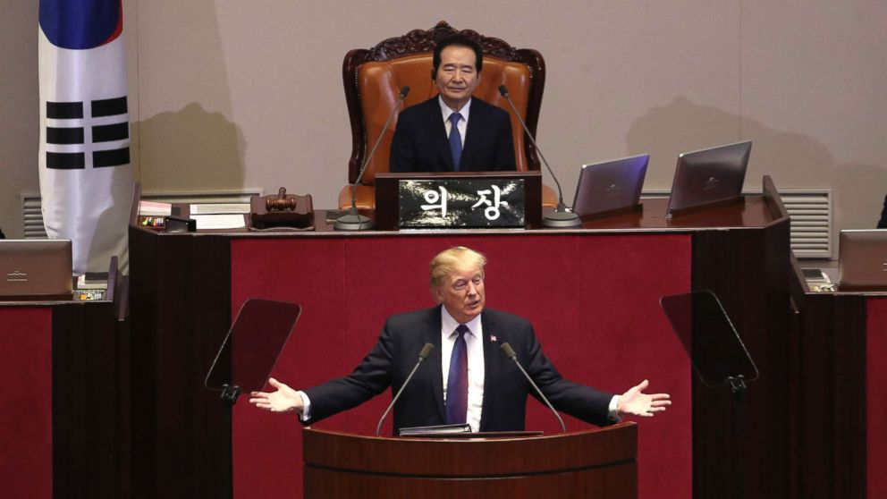 President Donald Trump speaks at the South Korean National Assembly, Nov. 8, 2017, in Seoul, South Korea.