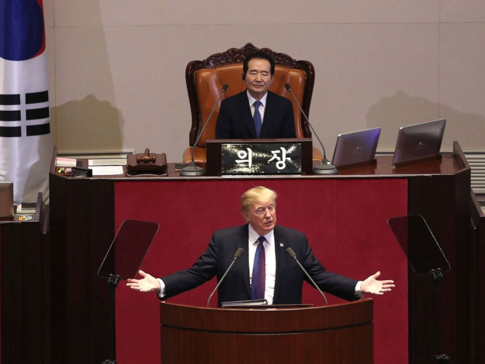 PHOTO: President Donald Trump speaks at the South Korean National Assembly, Nov. 8, 2017, in Seoul, South Korea.