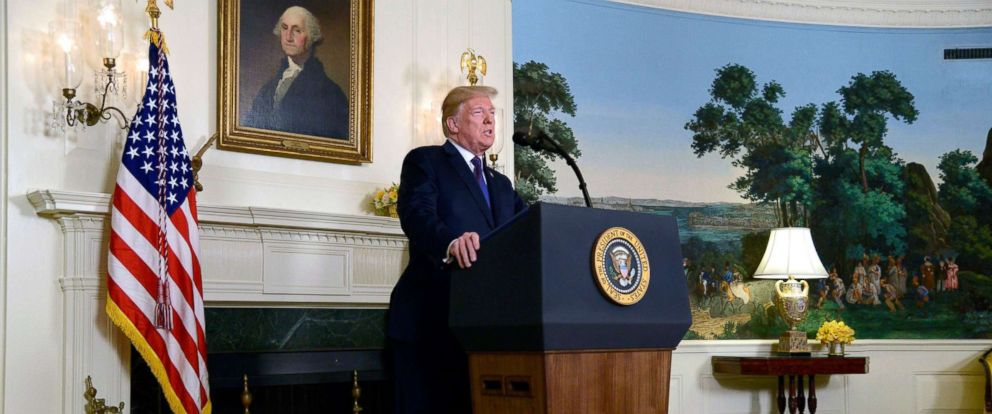 PHOTO: President Donald J. Trump announces military action against Syria in response to the recent alleged gas attack on civilians in Douma, at the White House, April 13, 2018.
