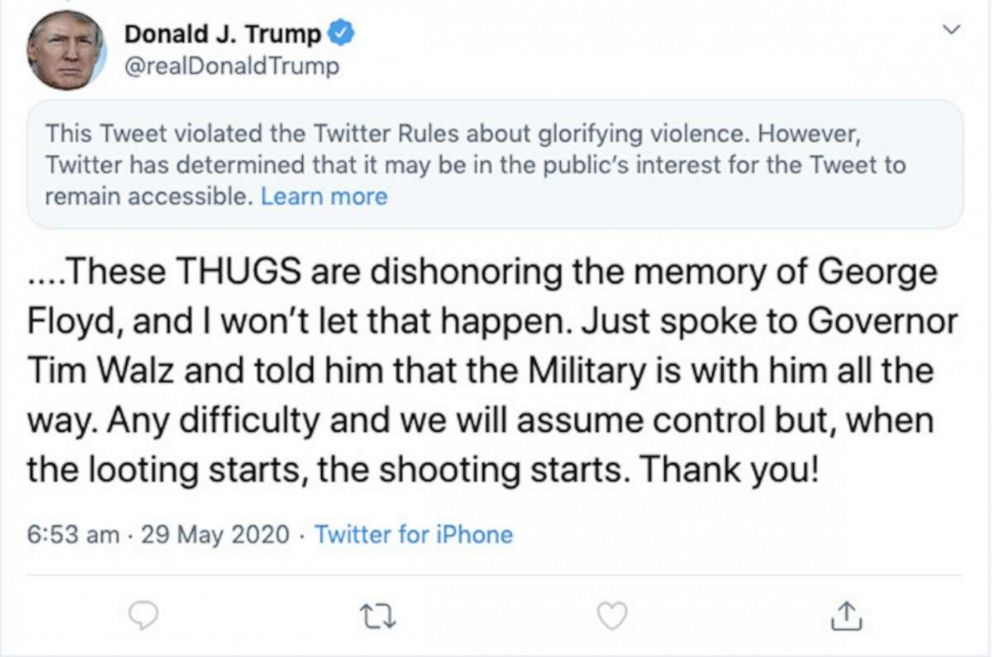 "Twitter Flags President Trump's ""When the Looting Starts, the Shooting Starts"" Tweet About George Floyd Protests"