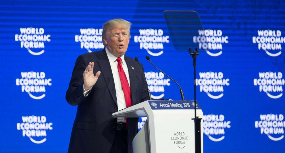 PHOTO: President Donald Trump delivers a speech during the 48th annual meeting of the World Economic Forum in Davos, Switzerland, Jan. 26, 2018.