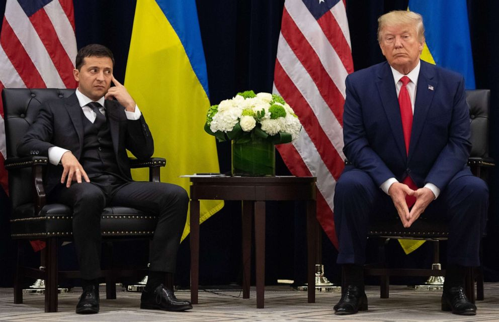 PHOTO: President Donald Trump and Ukrainian President Volodymyr Zelenskiy looks on during a meeting in New York on September 25, 2019, on the sidelines of the United Nations General Assembly.