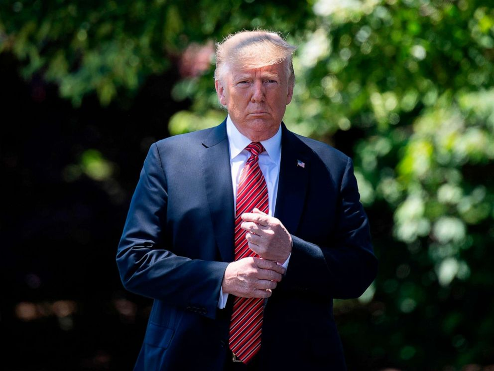 PHOTO: President Donald Trump walks out of the Oval Office to speak with reporters at the White House in Washington, D.C., June 11, 2019.