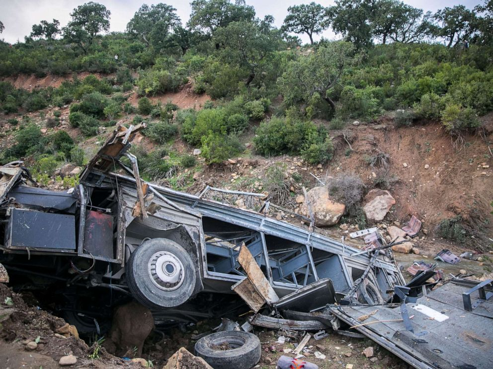 PHOTO: The wreckage of a bus that crashed during an excursion is seen in the northern town of Amdoun, Tunisia, Dec. 1, 2019.