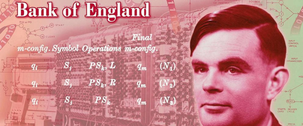 PHOTO: In this undated handout provided, July 15, 2019, a view of the the concept of the new 50 pound note bearing the image of Second World War code-breaker Alan Turing.