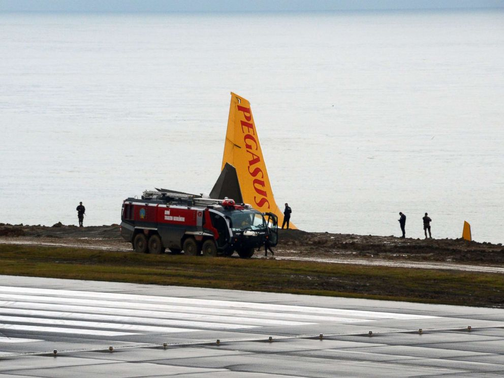 PHOTO: The site of accident where a Pegasus Airlines airplane skidded off the runway at Trabzon airport by the Black Sea in Trabzon, Turkey is pictured Jan. 14, 2018.
