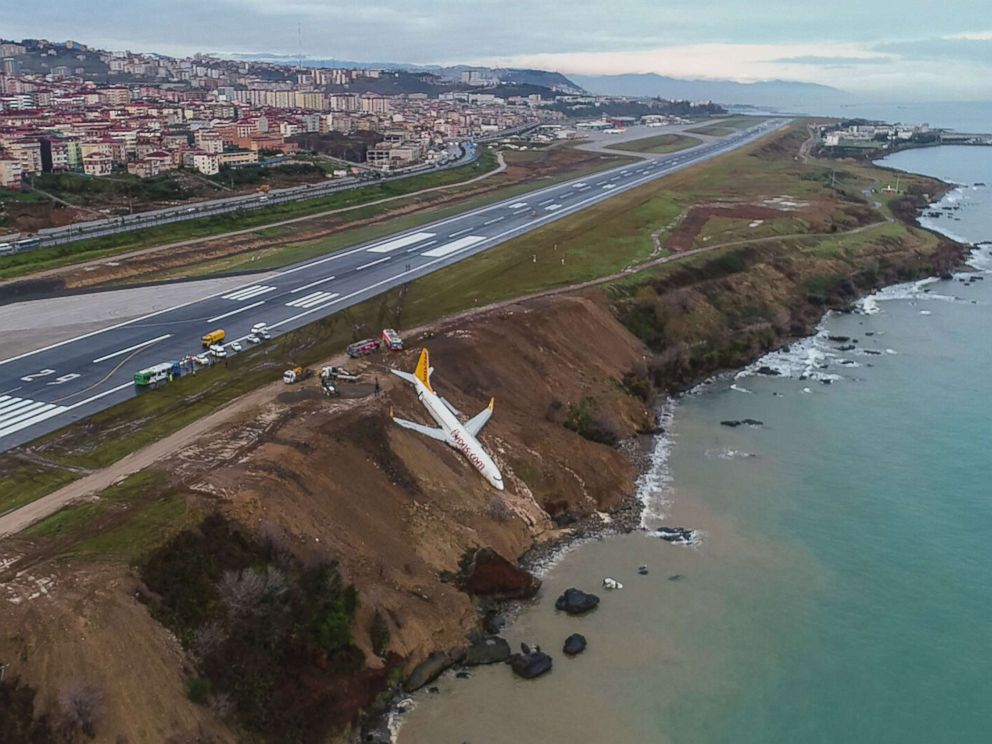 PHOTO: A Pegasus Airlines Boeing 737 passenger plane sits on a cliff after skidding off the runway at Trabzons airport on the Black Sea coast in Turkey, Jan. 14, 2018.