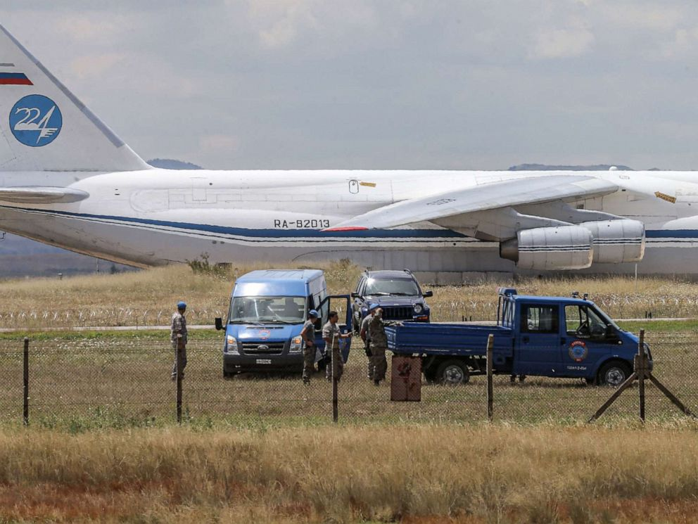 PHOTO: A Russian Antonov military cargo plane, carrying S-400 missile defense system from Russia, lands at the Murted military airbase in Ankara, Turkey, July 12, 2019.