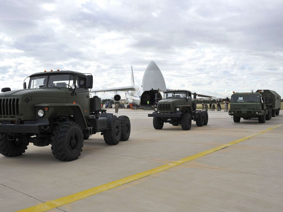 PHOTO: A photograph taken and released on July 12, 2019, shows a Russian military cargo plane carrying S-400 missile defense system from Russia transported to the Murted military airbase in Ankara, Turkey.