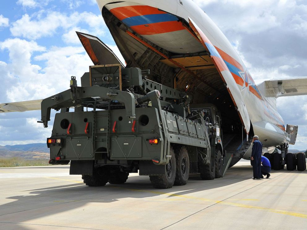 PHOTO: Parts of a Russian S-400 missile defense system are unloaded from a Russian plane at Murted Airport, known as Akinci Air Base, near Ankara, Turkey, July 12, 2019.