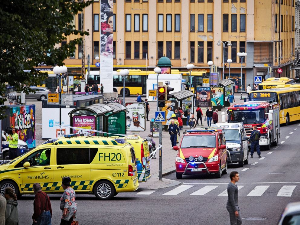 PHOTO: Ambulances gather at the site of a multiple stabbing on the Market Square in Turku, Finland, Aug. 18, 2017.