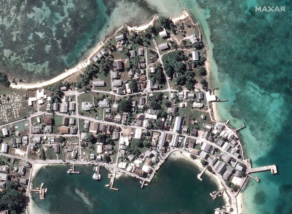PHOTO: Before Hurricane Dorian struck Green Turtle Cay off Great Abaco Island in a satellite image taken Oct. 25, 2018.
