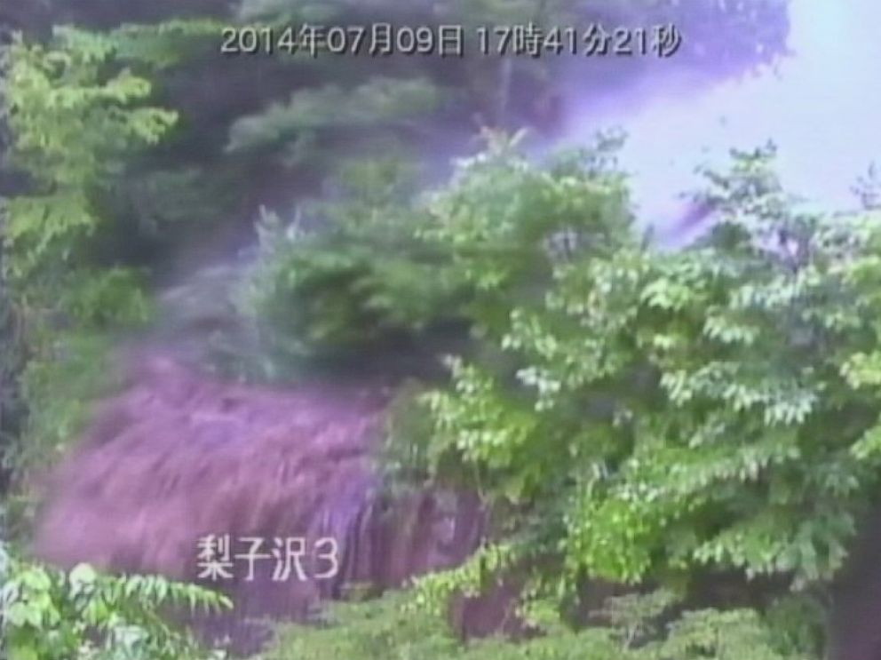 PHOTO: A surveillance camera in Nagiso in central Japan captured a dramatic mudslide during Typhoon Neoguri on July 9, 2014.