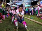 PHOTO: Ethnic Miao women in traditional costumes take part in a tug-of-war to celebrate a local festival at a village in Rongshui Miao Autonomous County, China, Sept. 27, 2018.