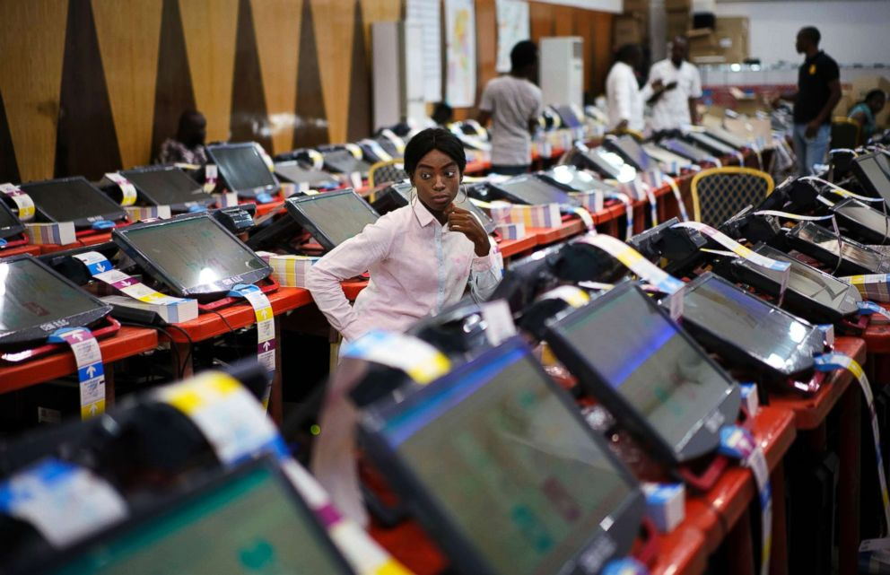 PHOTO: Members of the Independent National Electoral Commission (CENI) monitor the printing of ballots at the electoral commissions headquarters in Kinshasa, Congo, Dec. 23, 2018.